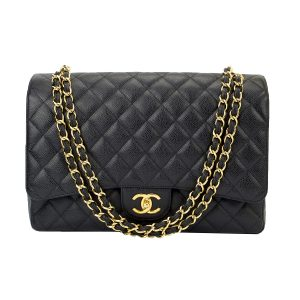 CHANEL Classic Double Flap Maxi Black Caviar Gold Hardware 2013