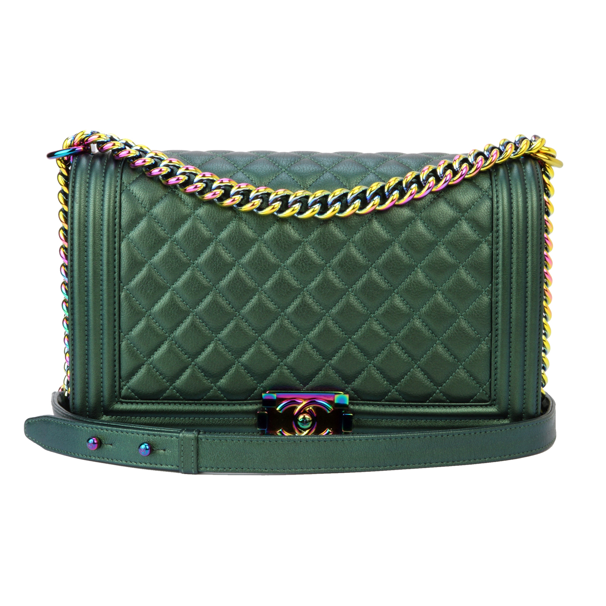 2007a138b1f8 Home/Chanel/CHANEL New Medium Boy Green Iridescent Goatskin Rainbow  Hardware 2016. ; 