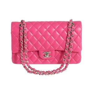 CHANEL Classic Double Flap Medium Hot Pink Lambskin Silver Hardware 2014