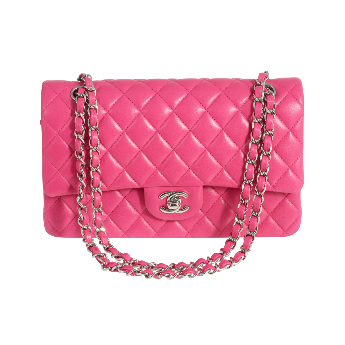 d0c2e0150b45 CHANEL Classic Double Flap Medium Hot Pink Lambskin Silver Hardware 2014