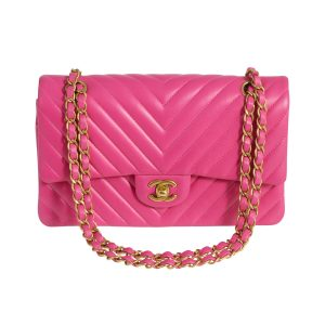 CHANEL Classic Double Flap Medium Fuchsia Chevron Lambskin Gold Hardware 2015