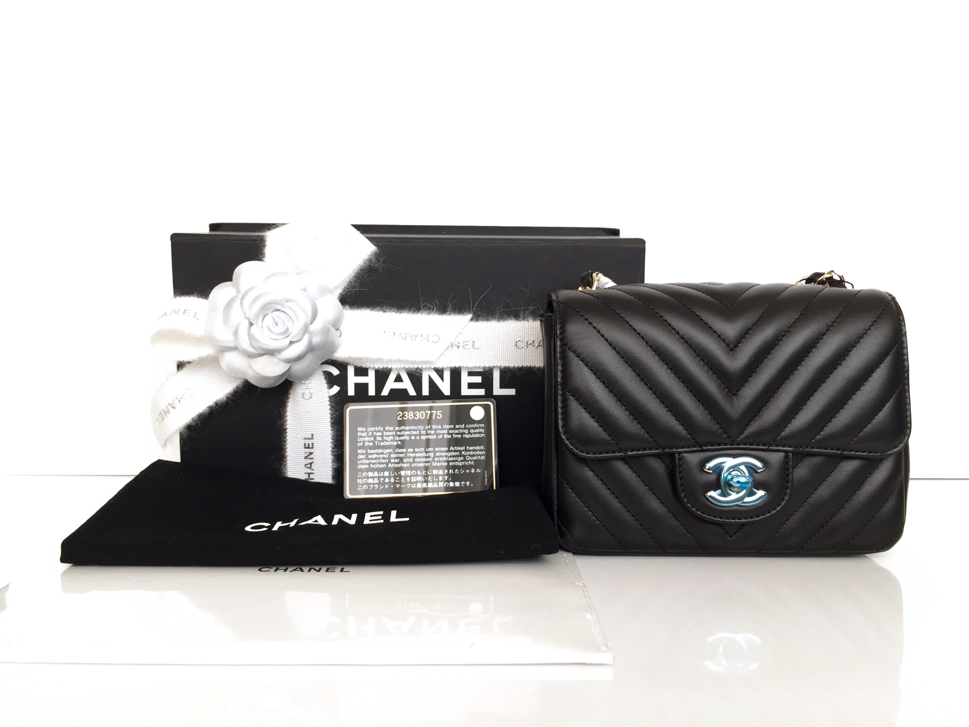 2ce3a0f93daf Home/Chanel/CHANEL Square Mini Black Chevron Lambskin Gold Hardware 2017.  ; 