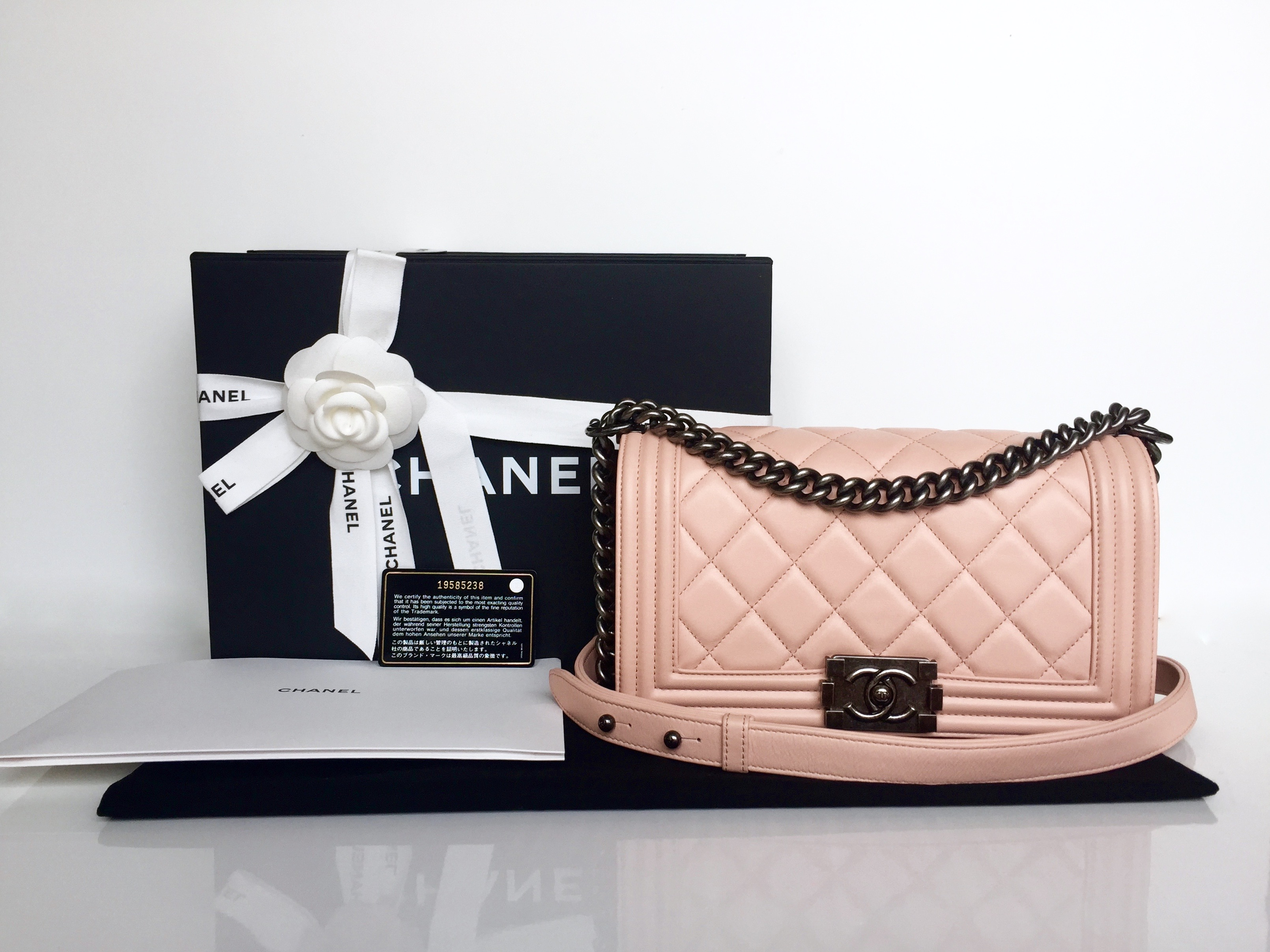 f383b0138cdcc Home Chanel CHANEL Old Medium Boy Baby Pink Calfskin Ruthenium Hardware  2014.   