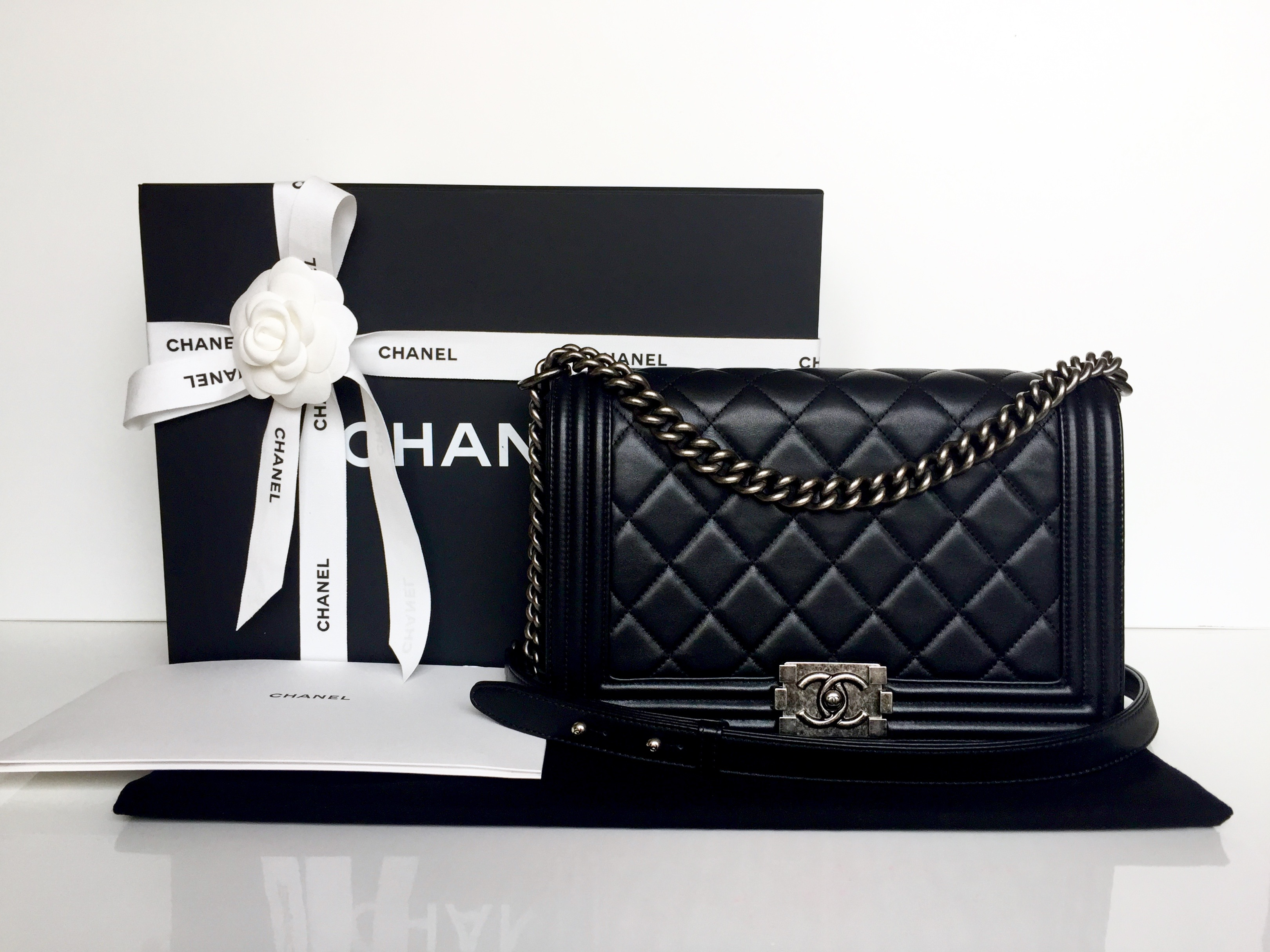 Home Chanel CHANEL New Medium Boy Black Calfskin Ruthenium Hardware 2014.     0a0c0878d94fc