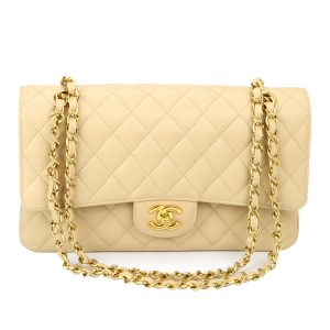 CHANEL Classic Double Flap Medium Beige Clair Caviar Gold Hardware 2011