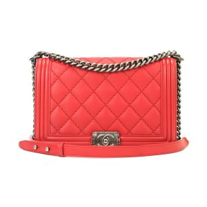 CHANEL New Medium Boy Red Calfskin Ruthenium Hardware 2014