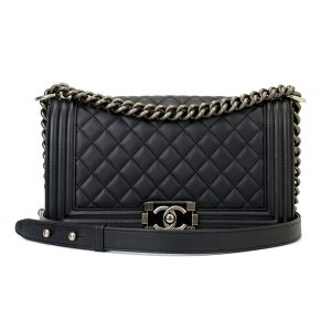 CHANEL Old Medium Boy Black Calfskin Ruthenium Hardware 2014