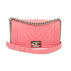 CHANEL Old Medium Boy Pink Calfskin Shiny Silver Hardware 2016
