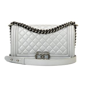 CHANEL Old Medium Boy Silver Calfskin Ruthenium Hardware 2014