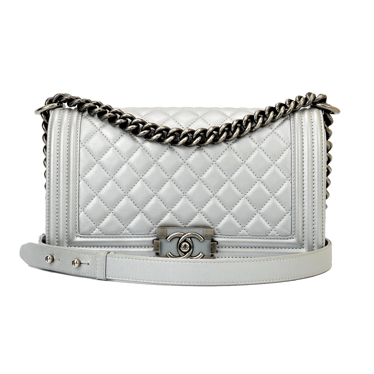 29f1ebd978fd91 CHANEL Old Medium Boy Silver Calfskin Ruthenium Hardware 2014 ...