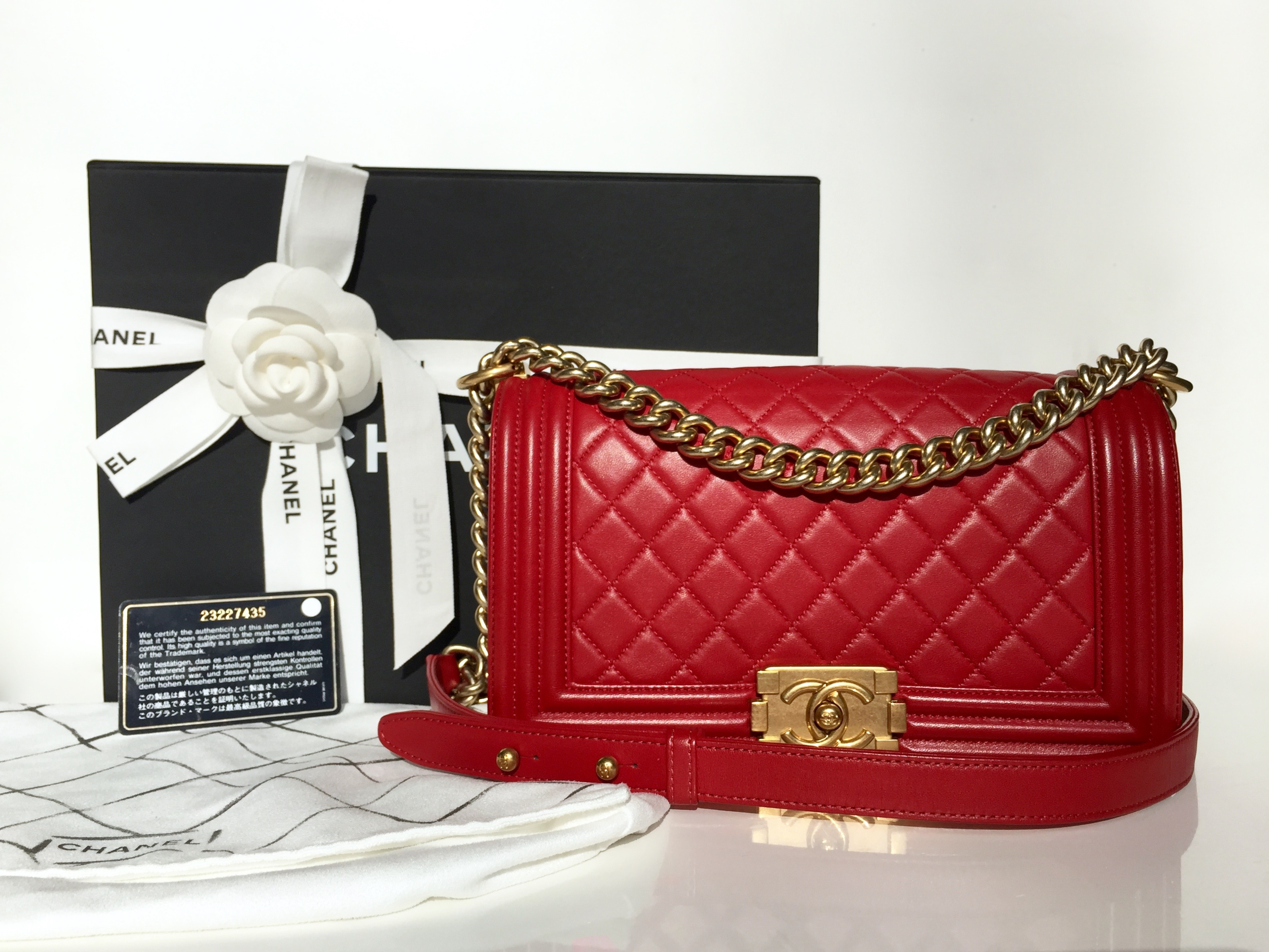 cf49e8dca3b0 Home/Chanel/CHANEL Old Medium Boy Red Lambskin Brushed Gold Hardware 2016.  ; 