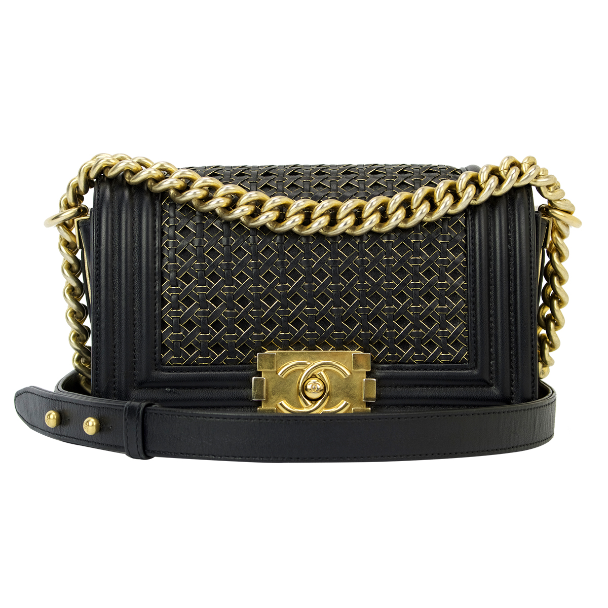 aecc679c3ed5 CHANEL Small Braided Boy Black Calfskin Brushed Gold Hardware 2014 ...