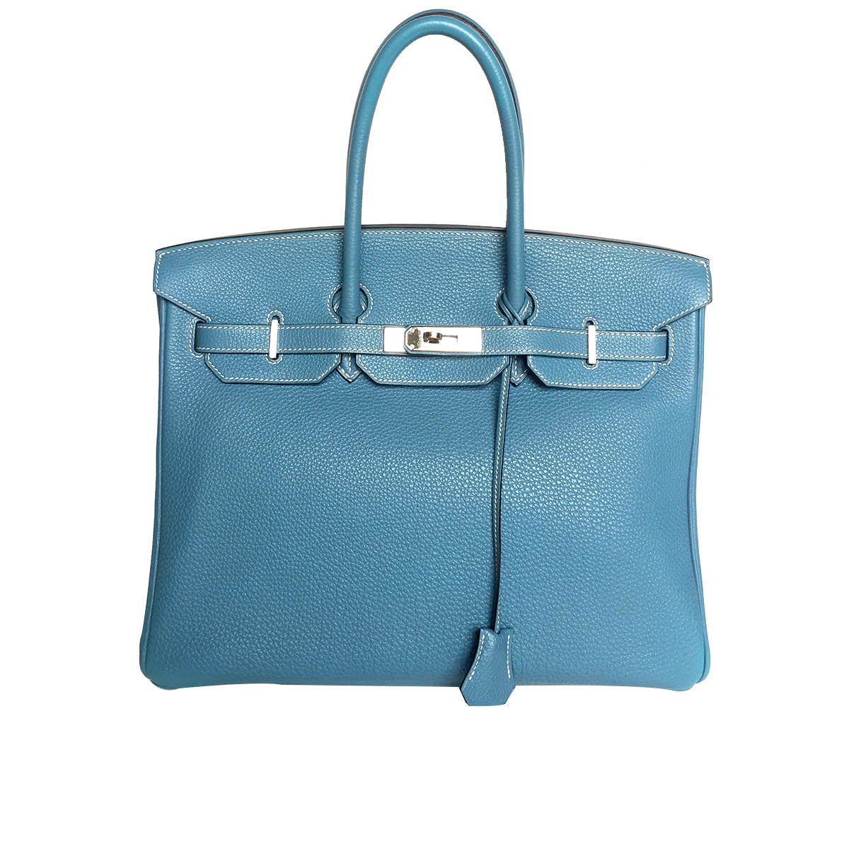 Hermès Birkin 35cm Blue Jean Togo Leather with Palladium Hardware Stamp M 2009