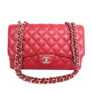 cdb4b2e409d6 CHANEL Classic Jumbo Single Flap Red Caviar with Silver Hardware 2009