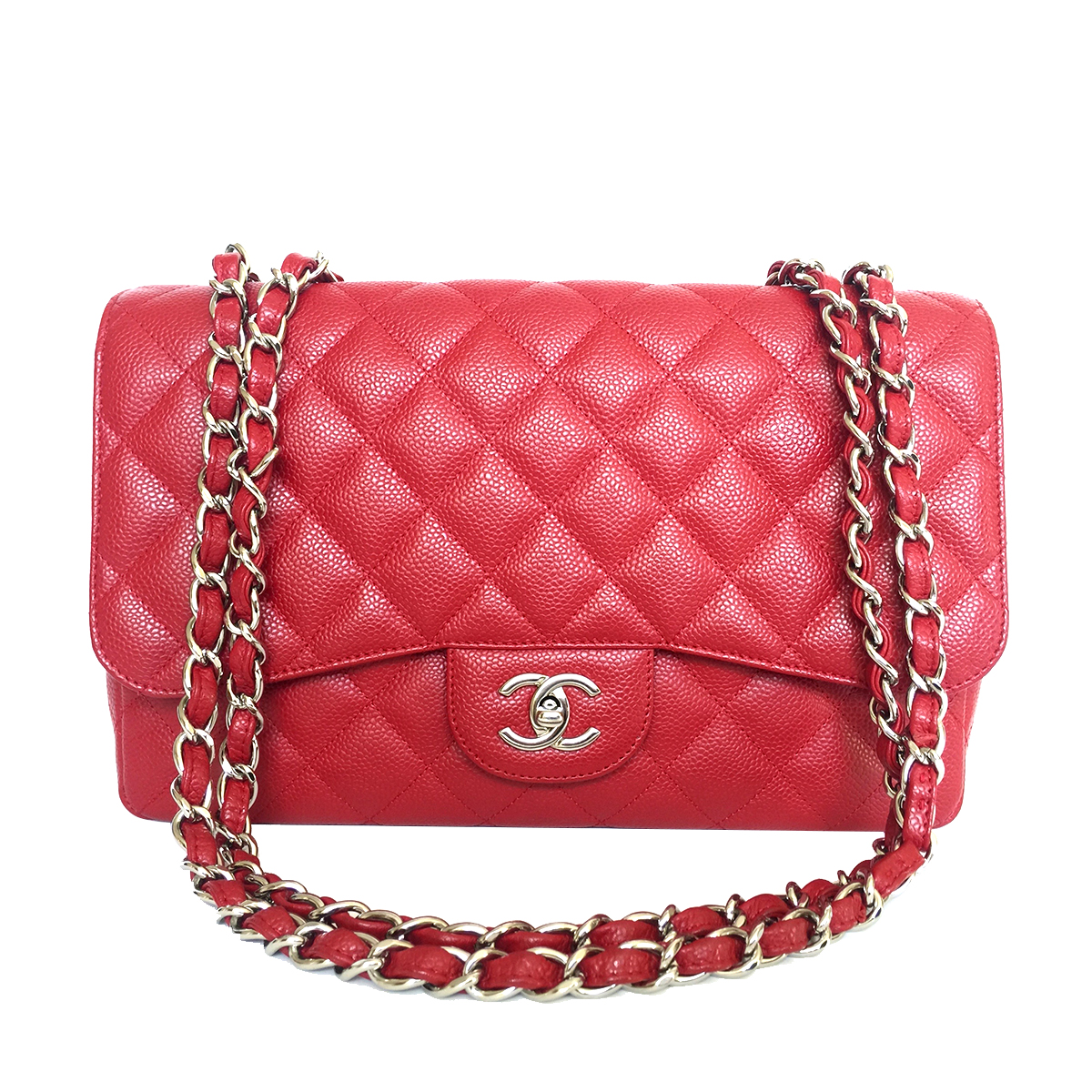 CHANEL Classic Jumbo Single Flap Red Caviar with Silver Hardware 2009