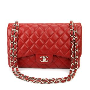 CHANEL Classic Double Flap Jumbo Red Caviar Silver Hardware 2011