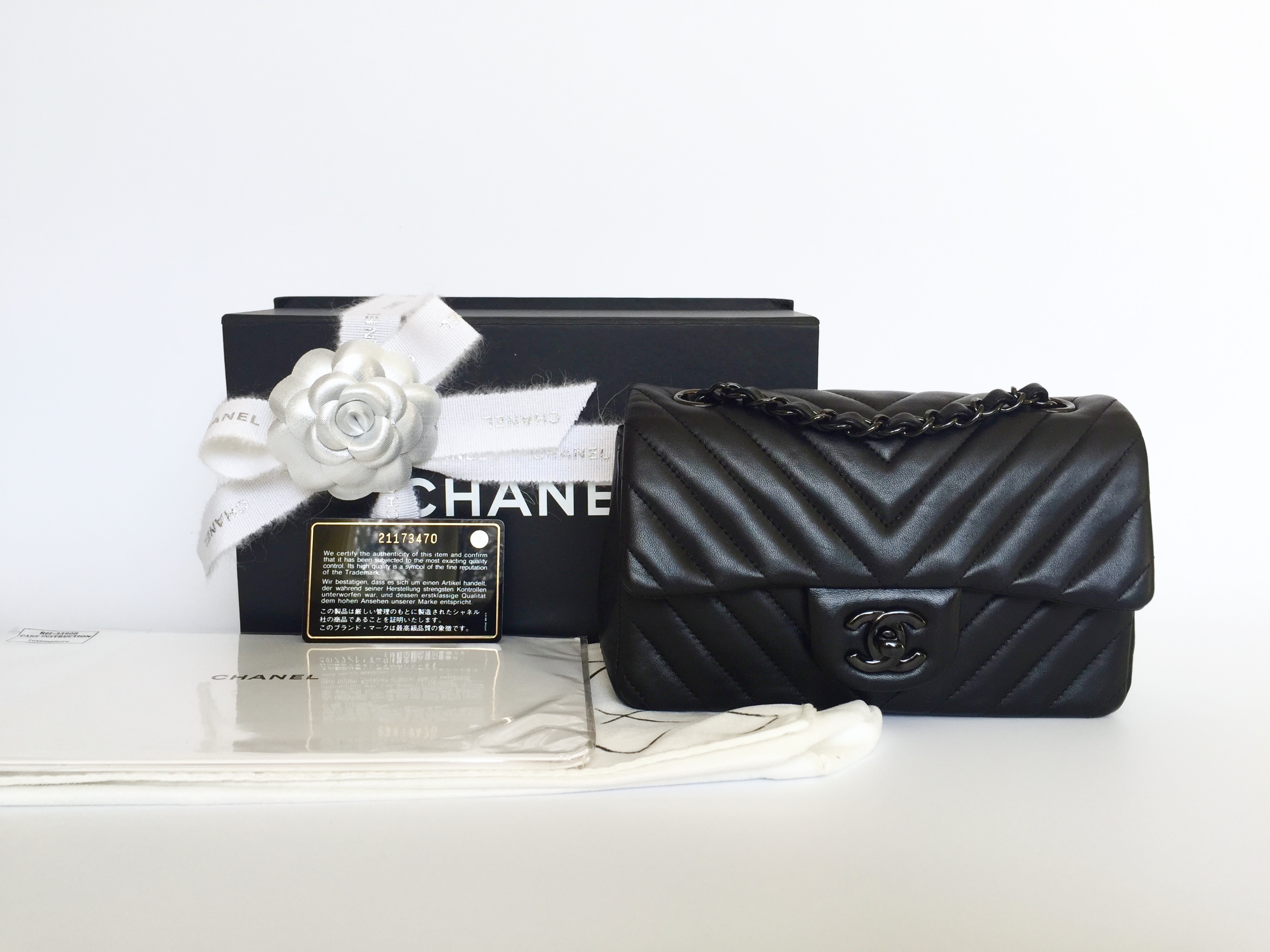 8217b5e80288 Home/Chanel/CHANEL Rectangular Mini So Black Chevron Lambskin Black  Hardware 2015. ; 