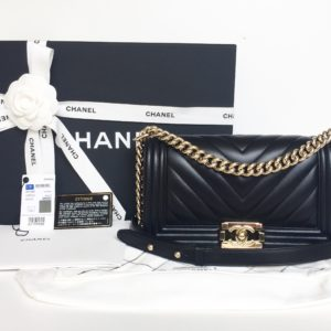 467970be1f87 Out of stock. CHANEL Old Medium Boy Chevron Black Lambskin Champagne Gold  Hardware 2017