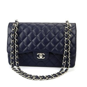 CHANEL Classic Double Flap Jumbo Navy Caviar Silver Hardware 2014