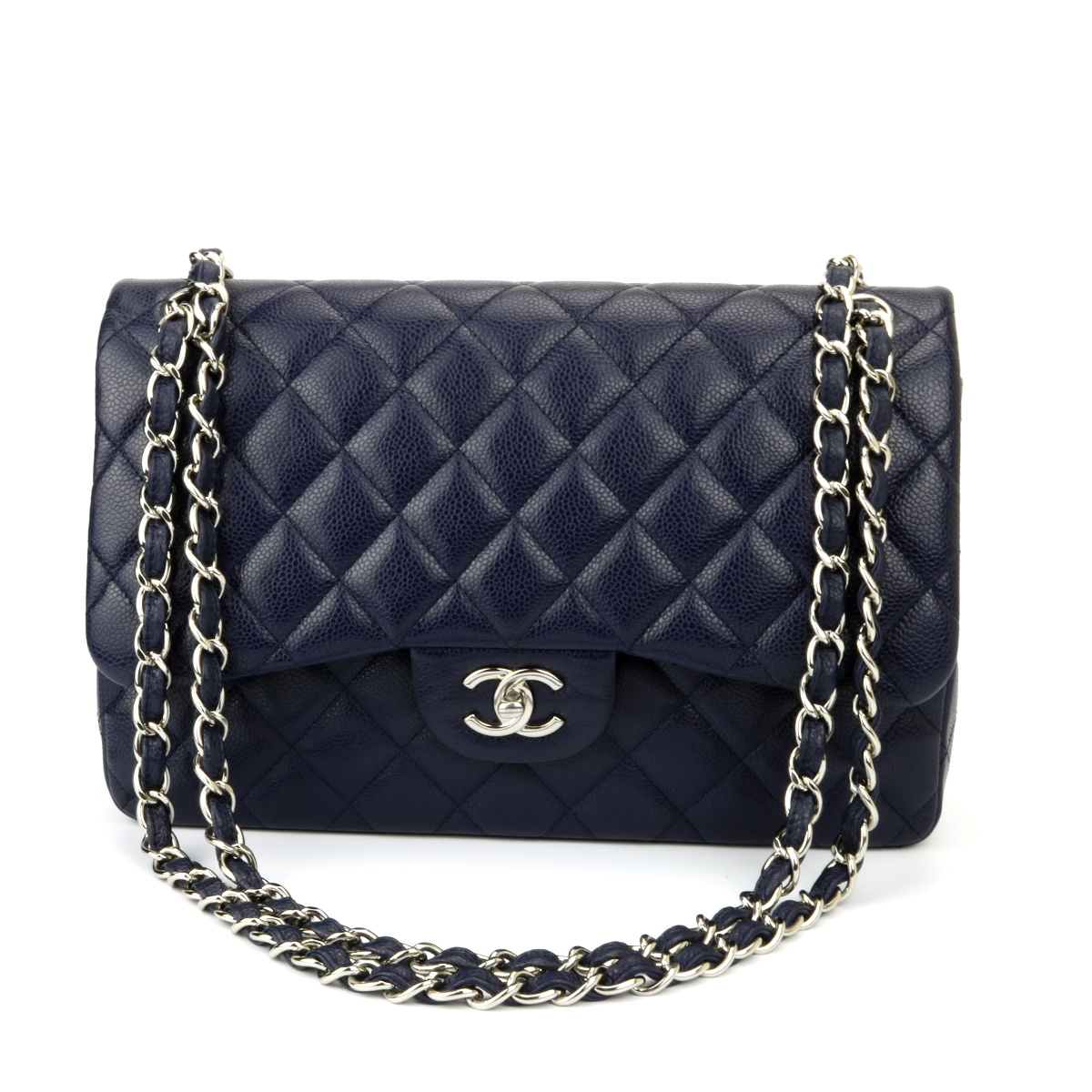 581d00f952f4 CHANEL Classic Double Flap Jumbo Navy Caviar Silver Hardware 2014 ...
