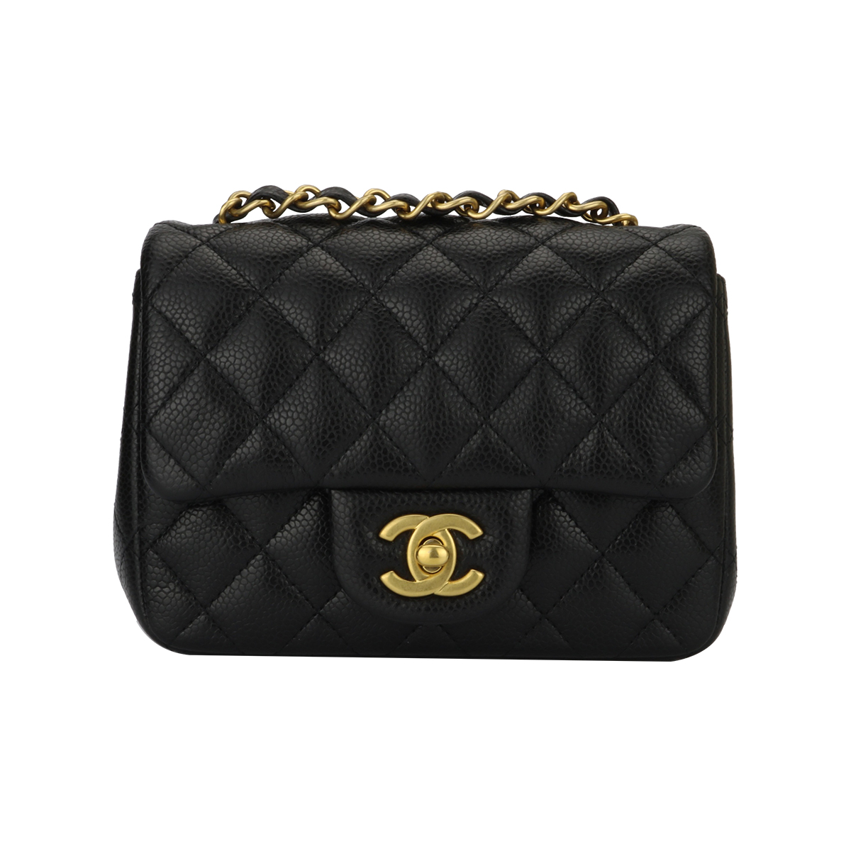 633367dbf45e9f Home/Chanel/CHANEL Classic Square Mini Black Caviar Brushed Gold Hardware  2016. ; 