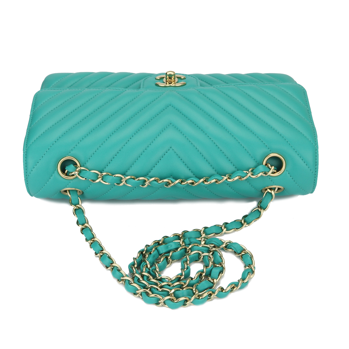 425e11b435d1 Home/Chanel/CHANEL Classic Double Flap Medium Turquoise Lambskin Chevron  Champagne Gold Hardware 2017. ; 