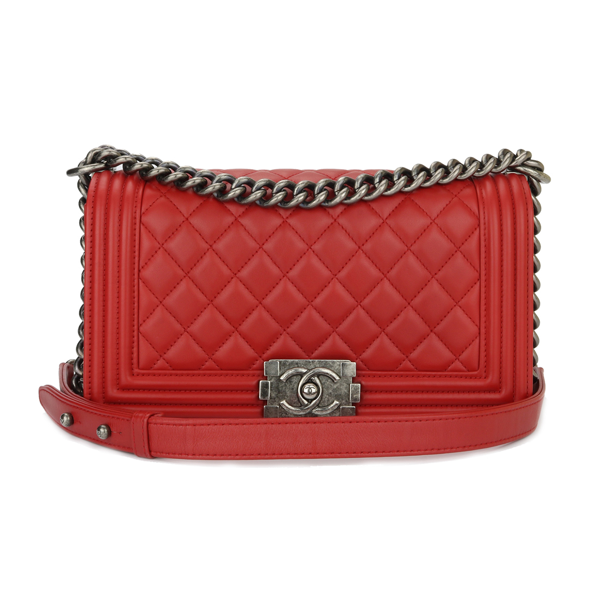bdd32cb6e9cb89 Home/Chanel/CHANEL Old Medium Boy Quilted Red Calfskin Ruthenium Hardware  2015. ; 