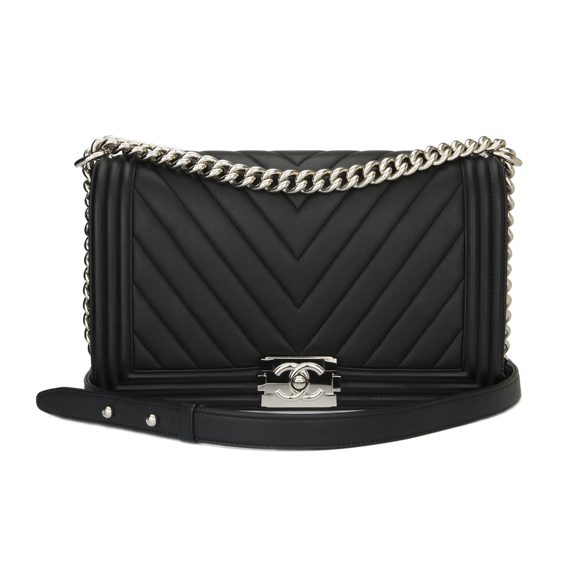 2a99f7cb8a8f Home/Chanel/CHANEL New Medium Boy Black Calfskin Chevron Shiny Silver  Hardware 2016. ; 