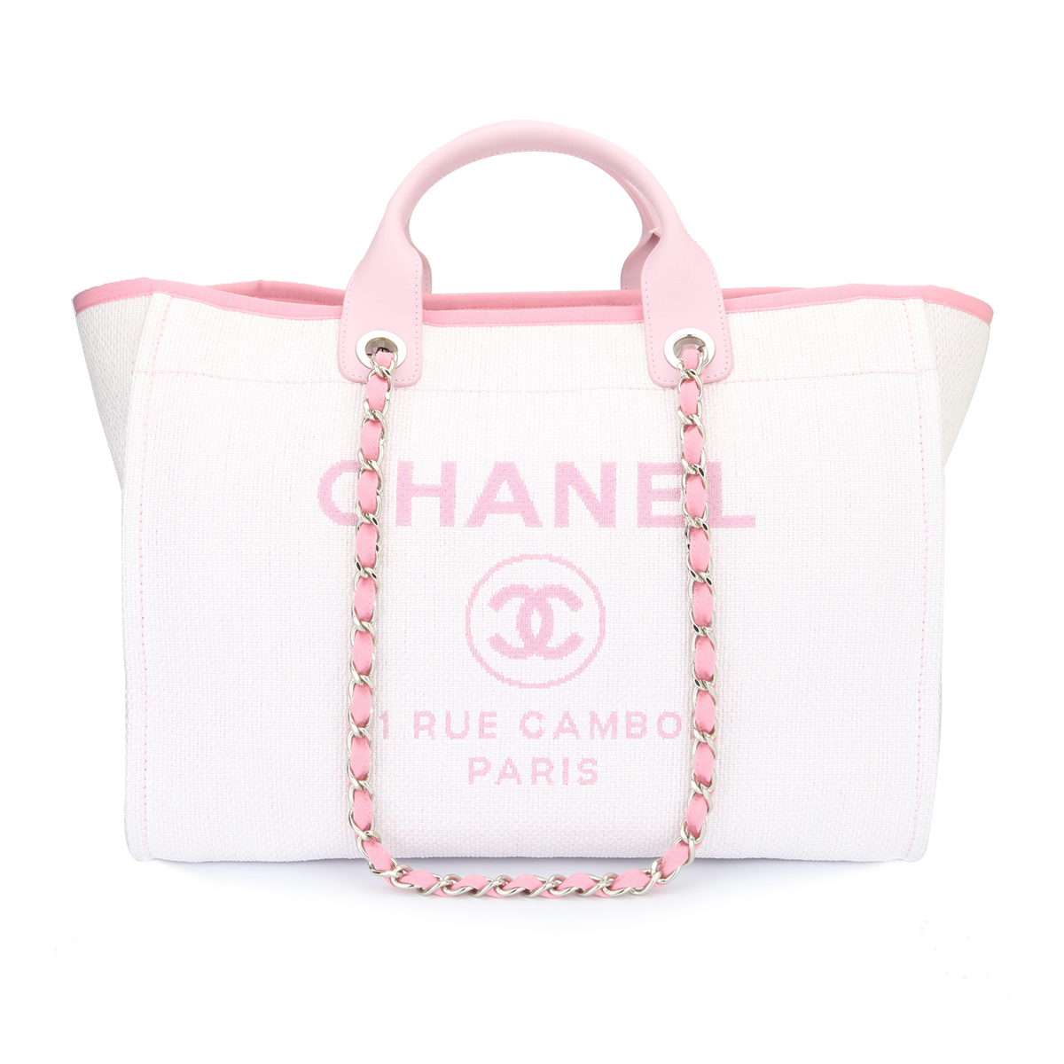 5ba0f3d9693 Home chanel deauville tote pink canvas large silver hardware  jpg  1200x1200 White chanel deauville tote