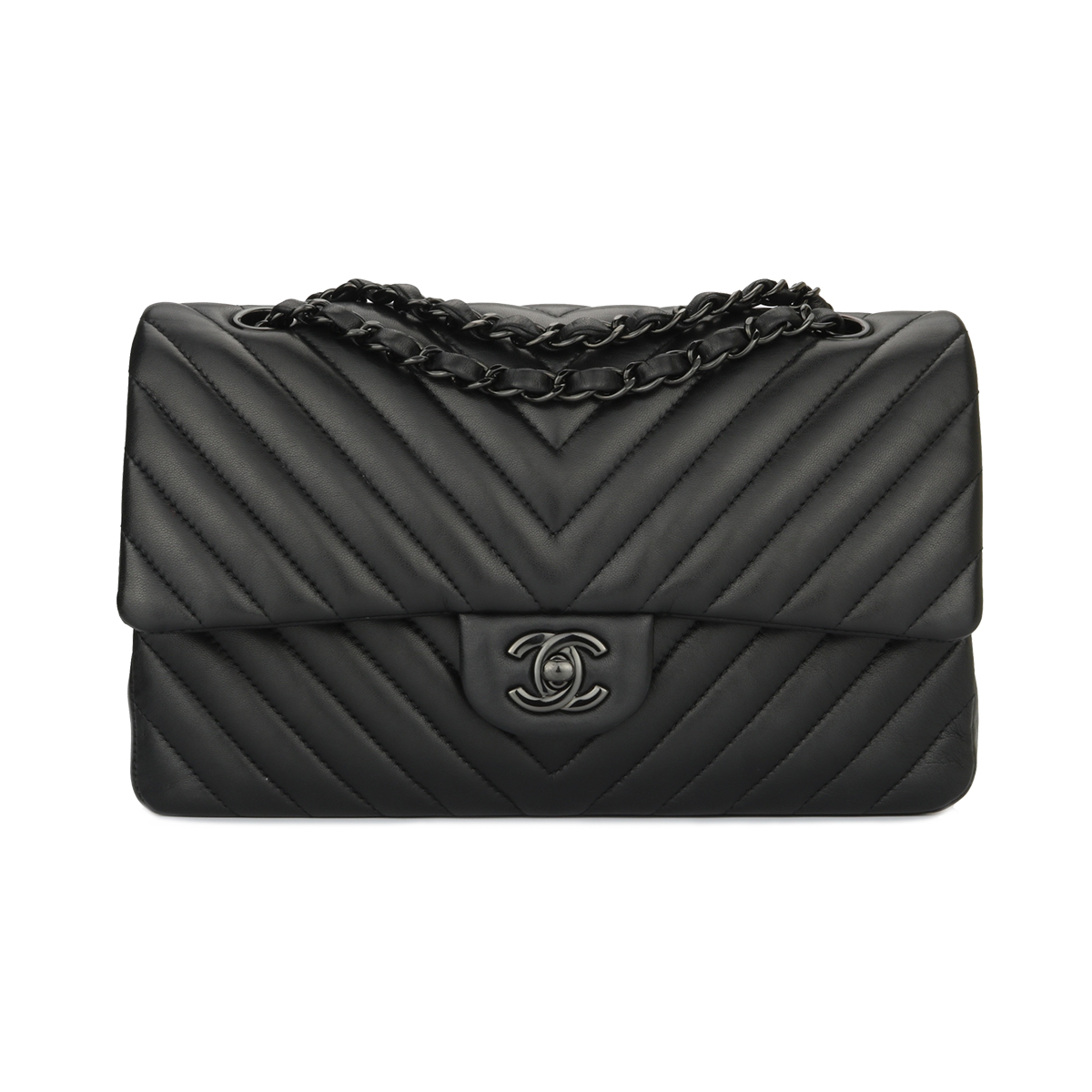 8c2622e5acda6c Home/Chanel/CHANEL SO BLACK Chevron Double Flap Medium Black Lambskin Black  Hardware 2015. ; 