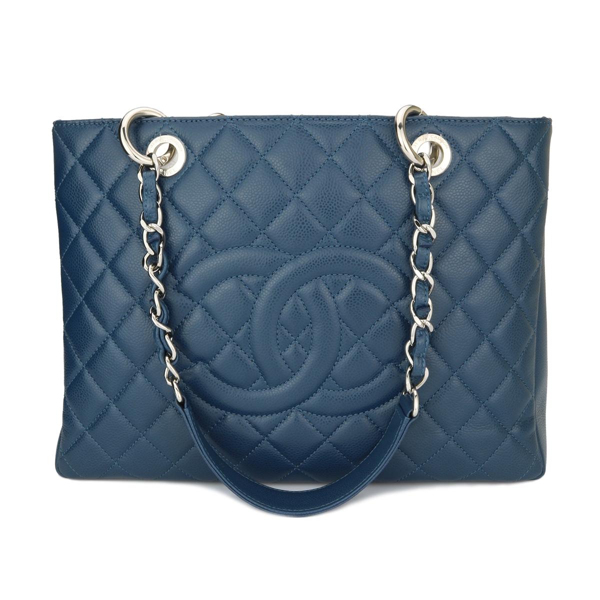 chanel grand shopping tote gst blue caviar silver