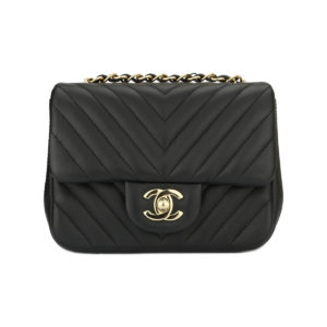 7cc1f016d533 CHANEL Square Mini Chevron Black Lambskin Light Gold Hardware 2017