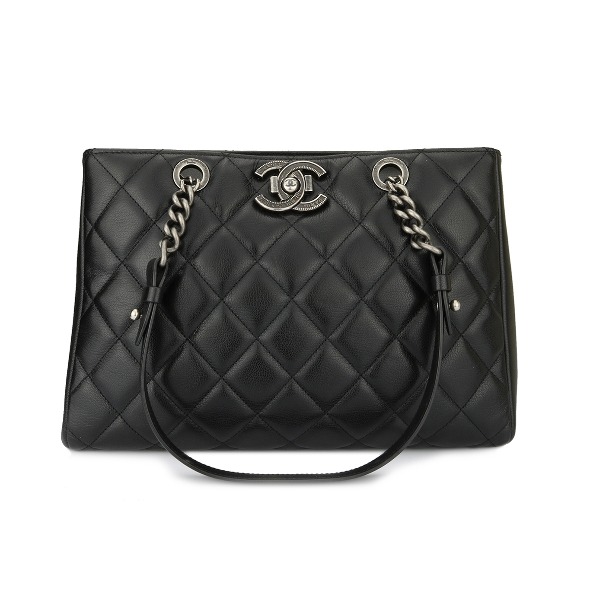 Home Chanel CHANEL Quilted City Rock Shopping Tote Black Goatskin Ruthenium  Hardware 2015.    d0f4bcfbfd70f