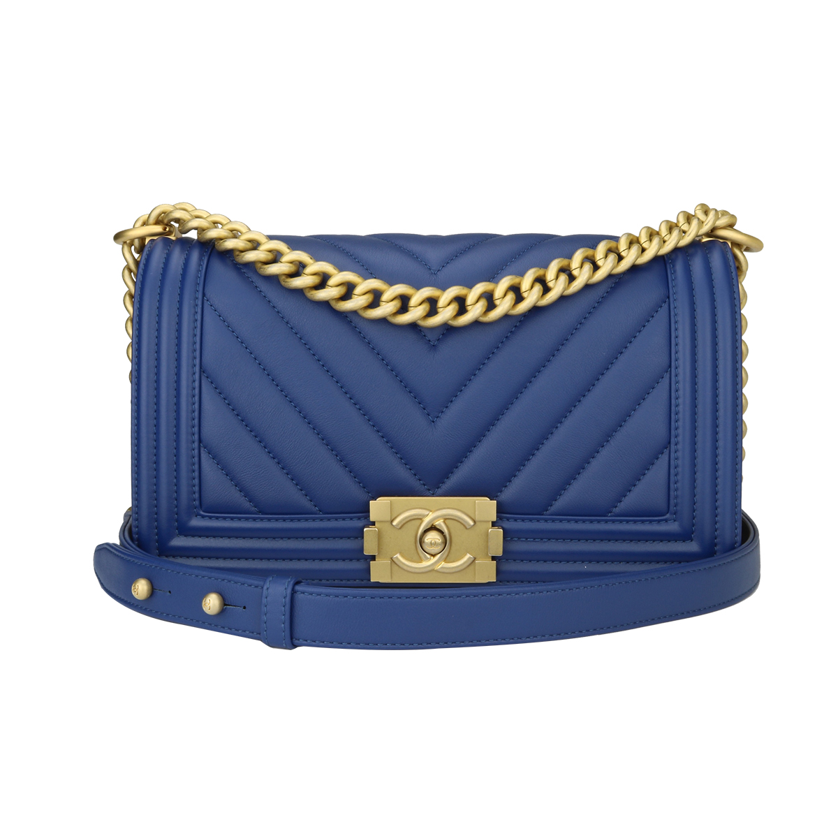 86dc75368ab8 Home/Chanel/CHANEL Old Medium Chevron Boy Blue Calfskin Brushed Gold  Hardware 2018. ; 