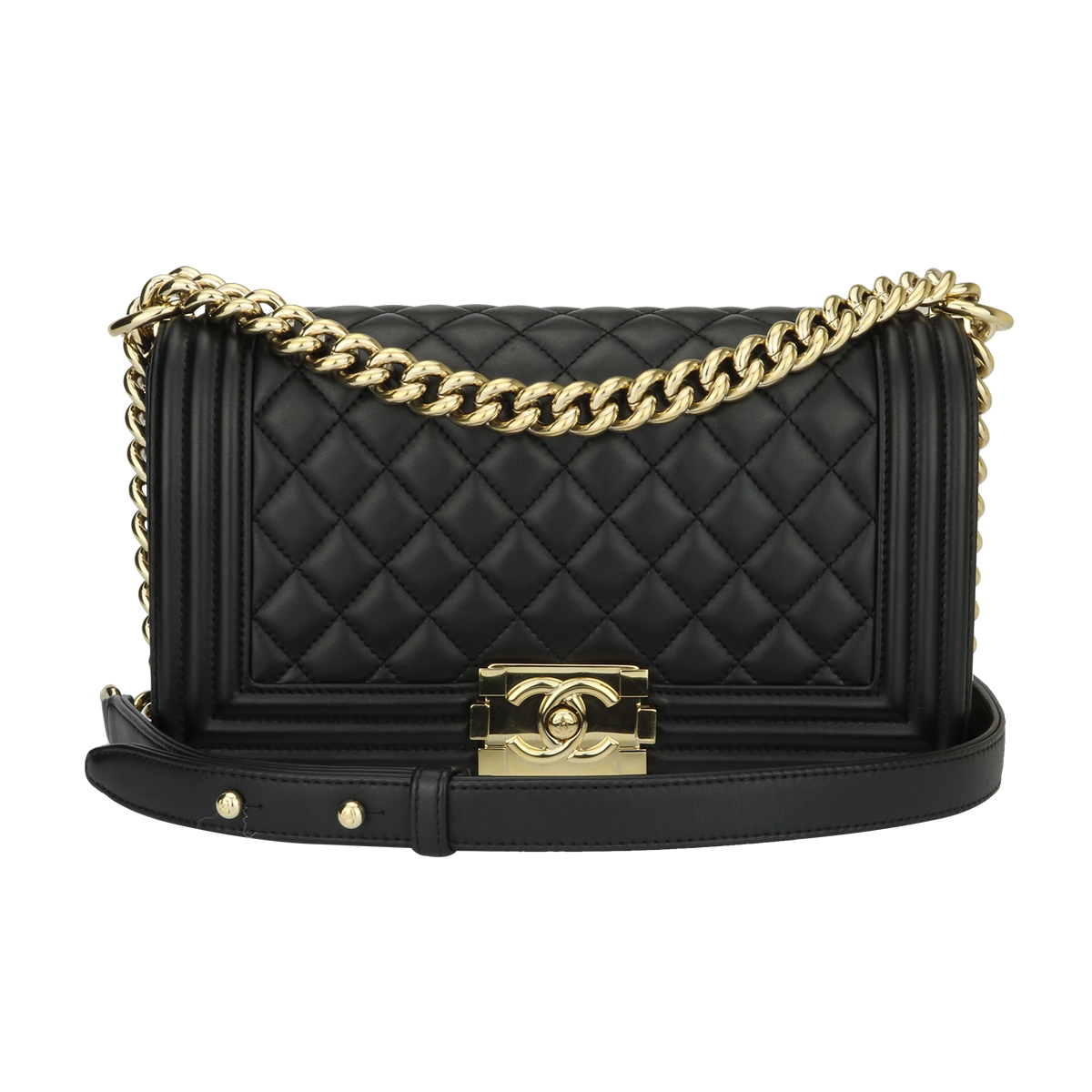 dfa4b3895e0 Home Chanel CHANEL Old Medium Quilted Boy Black Lambskin Shiny Gold Hardware  2016.   