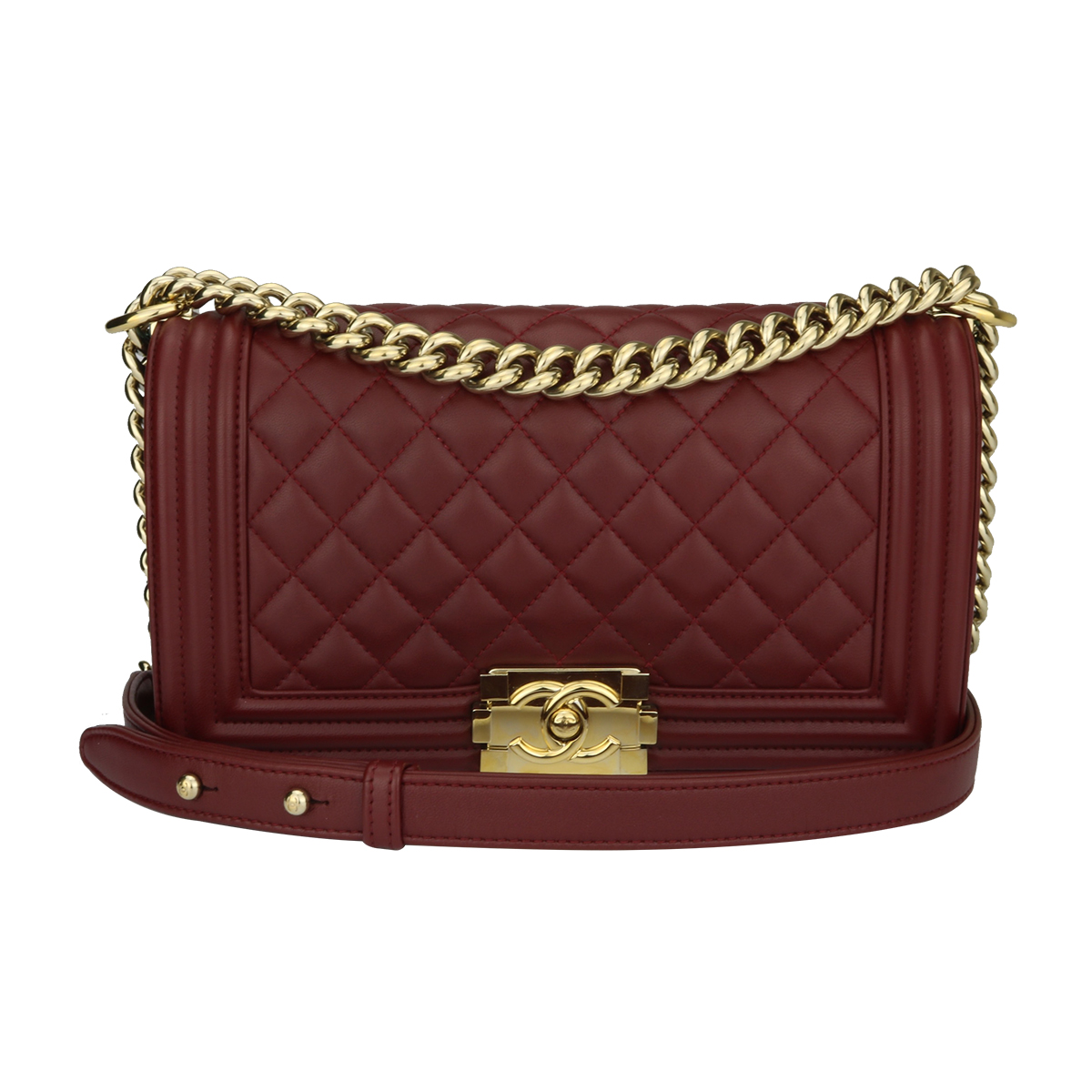 80b4bd95e370 Home Chanel CHANEL Old Medium Quilted Boy Burgundy Lambskin Shiny Gold  Hardware 2015.   