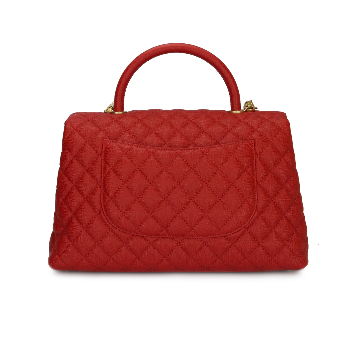Chanel Coco Handle Large Red Caviar Brushed Gold Hardware