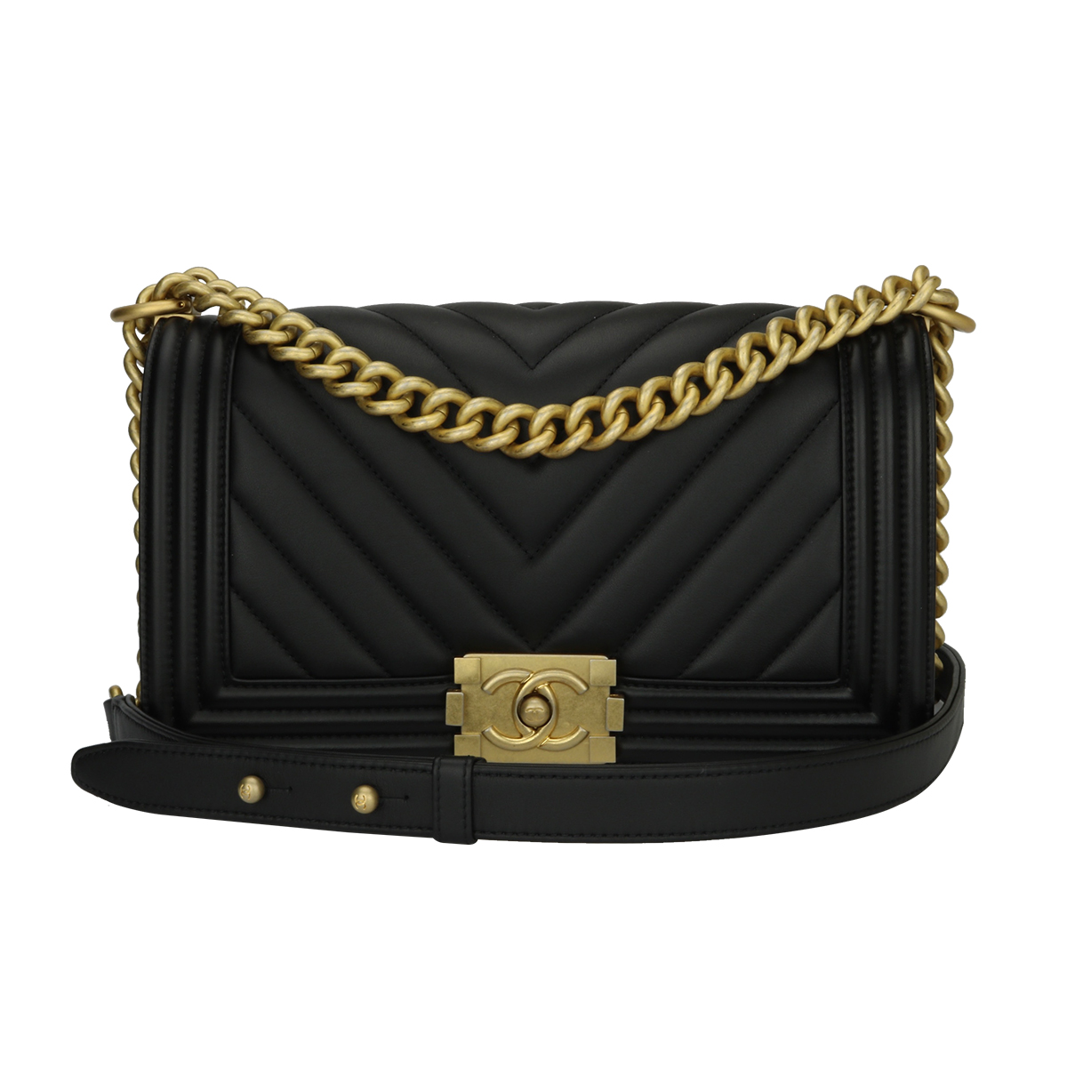 c7d9e3c26af3 Home Chanel CHANEL Old Medium Chevron Boy Black Calfskin Brushed Gold  Hardware 2018.   