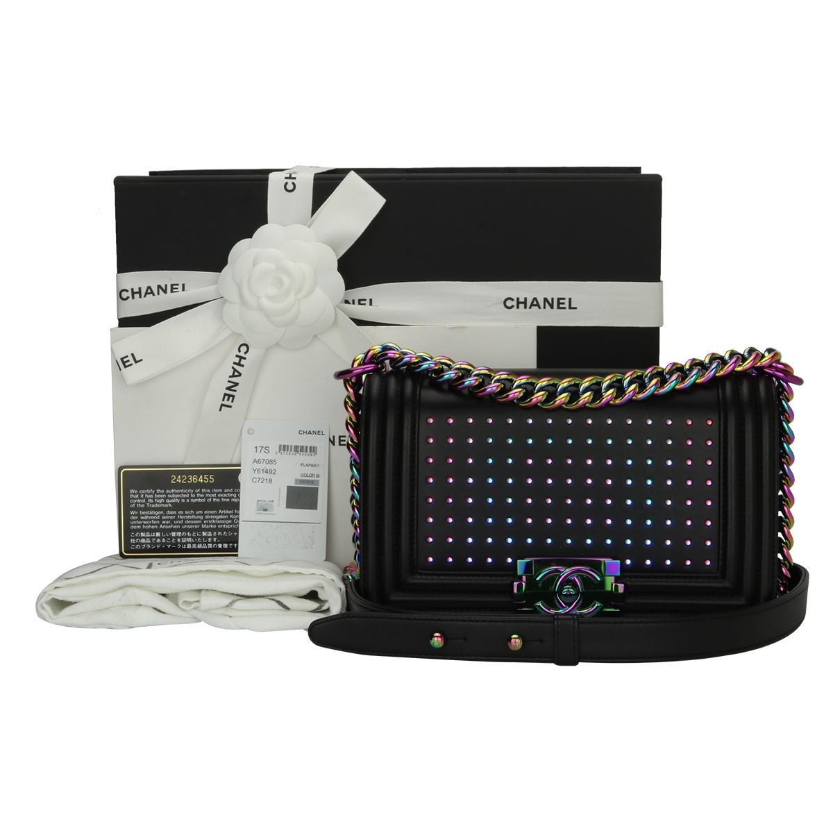 31d1a382a349e0 Home/Chanel/CHANEL Small LED Boy Black Lambskin Rainbow Hardware 2017. ; 