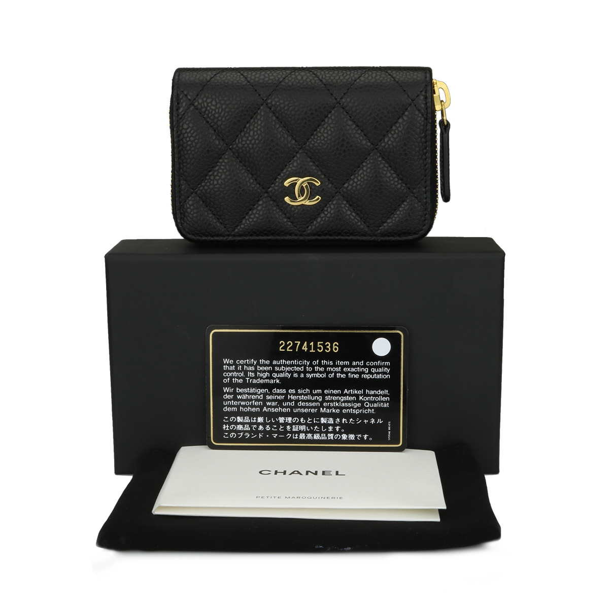ff73d52f7012 CHANEL Small Zip Wallet/ Coin Purse Black Caviar Gold Hardware 2017 -  BoutiQi Bags