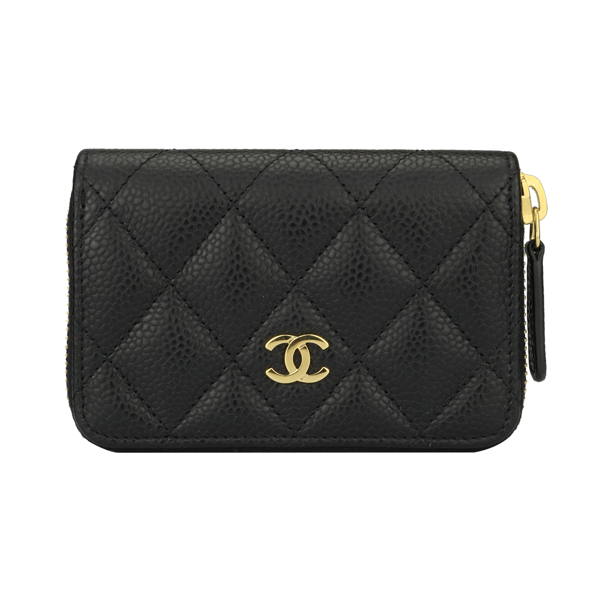 b6eb882d CHANEL Small Zip Wallet/ Coin Purse Black Caviar Gold Hardware 2017