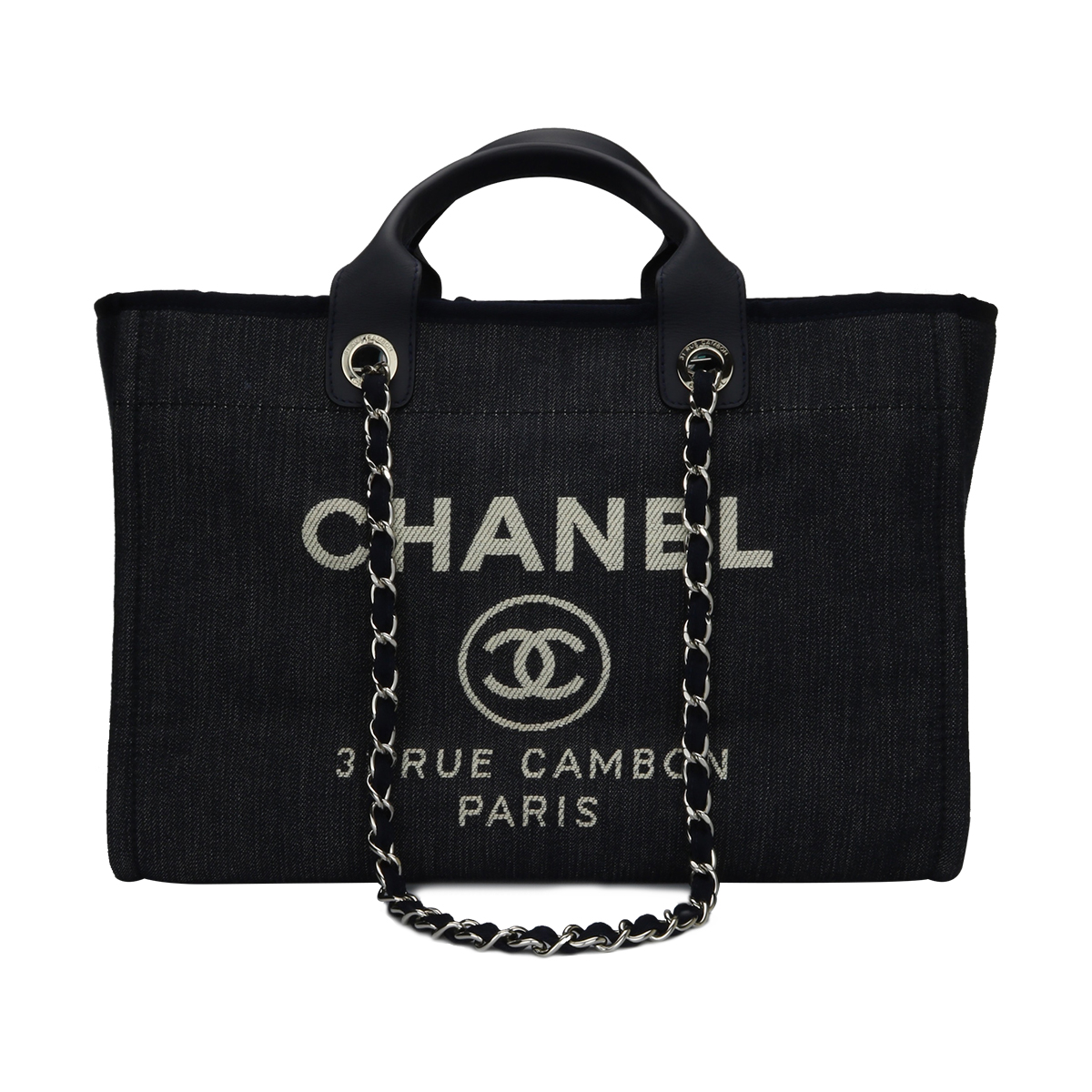 ab57436a17dd Home/Chanel/CHANEL Deauville Tote Blue Denim Large Silver Hardware 2016. ;  