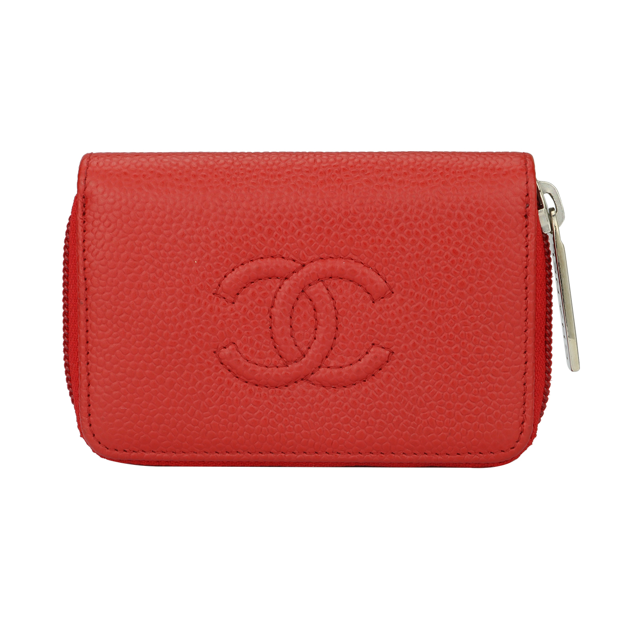 df24ac75bbce Chanel Small Zip Wallet Coin Purse Red Caviar Silver Hardware 2016