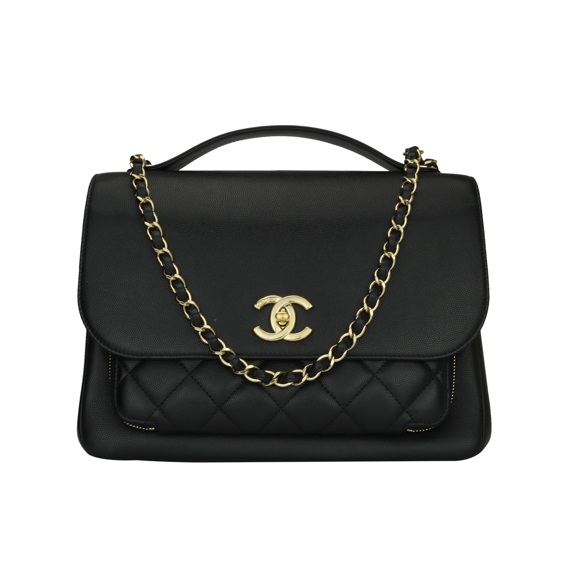 1a23502a1c47 Home Chanel CHANEL Business Affinity Large Black Caviar Calf Champagne  Hardware 2017.   