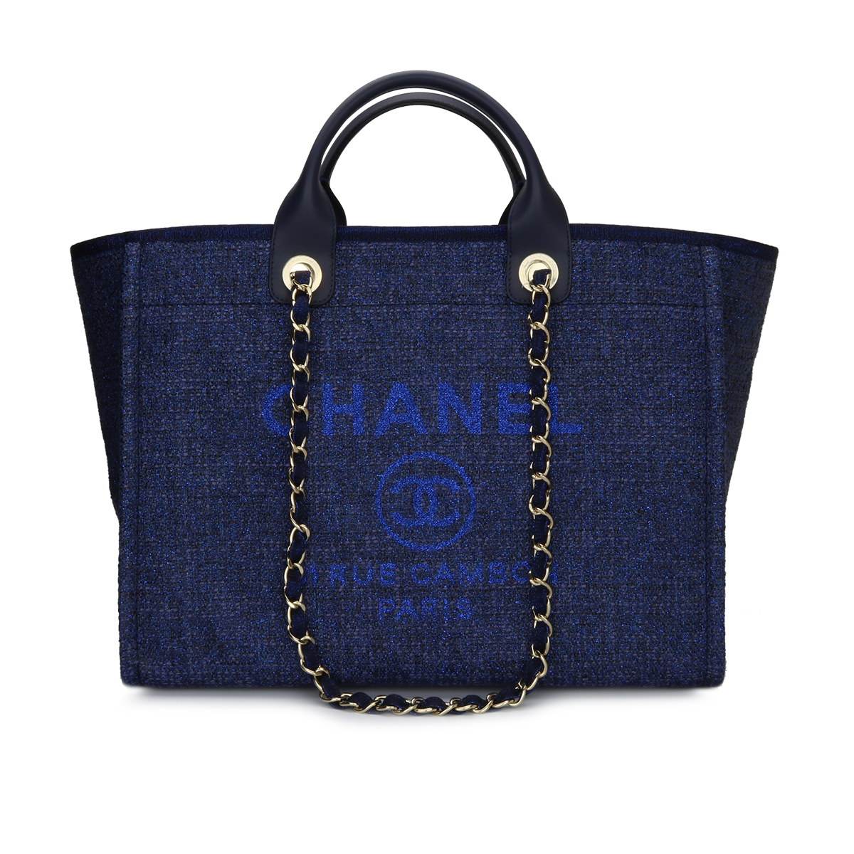 e4199c498e8 CHANEL Deauville Tote Large Navy Canvas Light Gold Hardware 2018