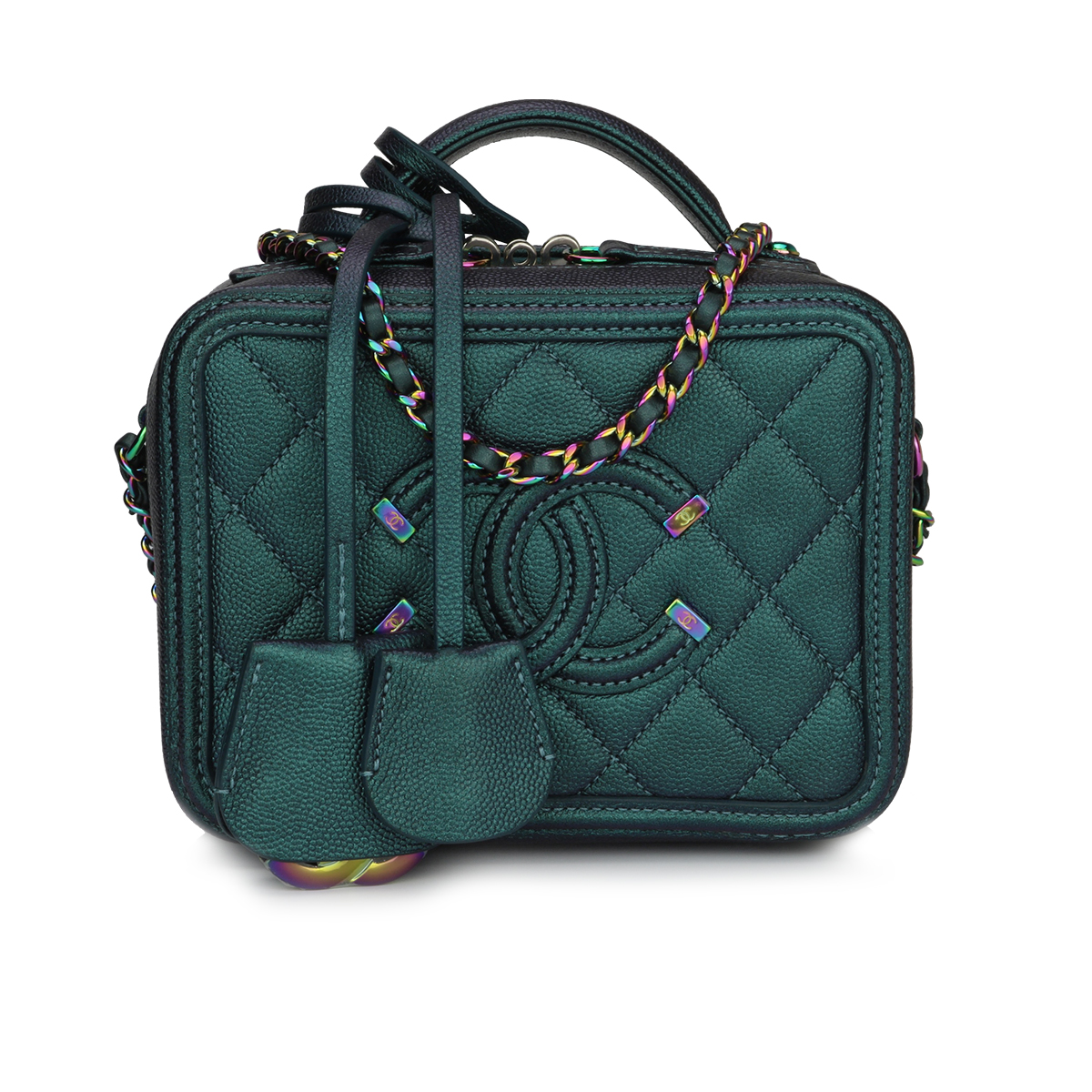d0af7900b96e Home/Chanel/CHANEL Small CC Filigree Vanity Case Iridescent Dark Turquoise  Caviar Rainbow Hardware 2018. ; 