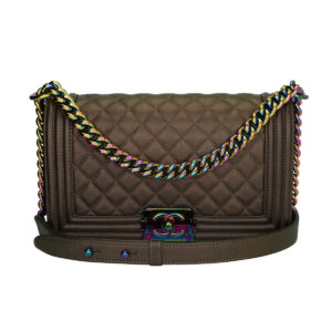 526f5ac18db0 CHANEL Old Medium Boy Bronze Iridescent Goatskin Rainbow Hardware 2016
