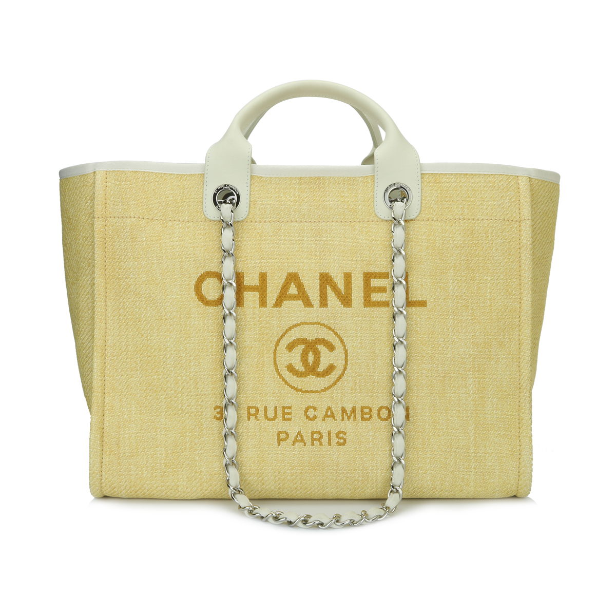 4fd878f90b1d Home/Chanel/CHANEL Deauville Tote Large Yellow Canvas Silver Hardware 2014.  ; 
